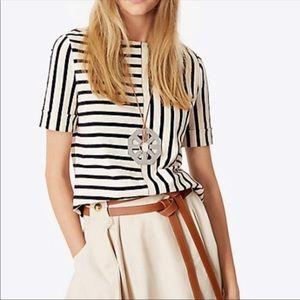 Tory Burch Harlie striped short sleeve top XL